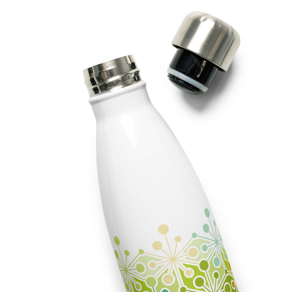 Mid Century Modern Eco Green PsychoFlakes 17 oz Stainless Steel Water Bottle with open cap