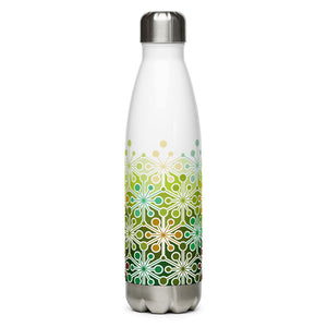 Mid Century Modern Eco Green PsychoFlakes 17 oz Stainless Steel Water Bottle front view