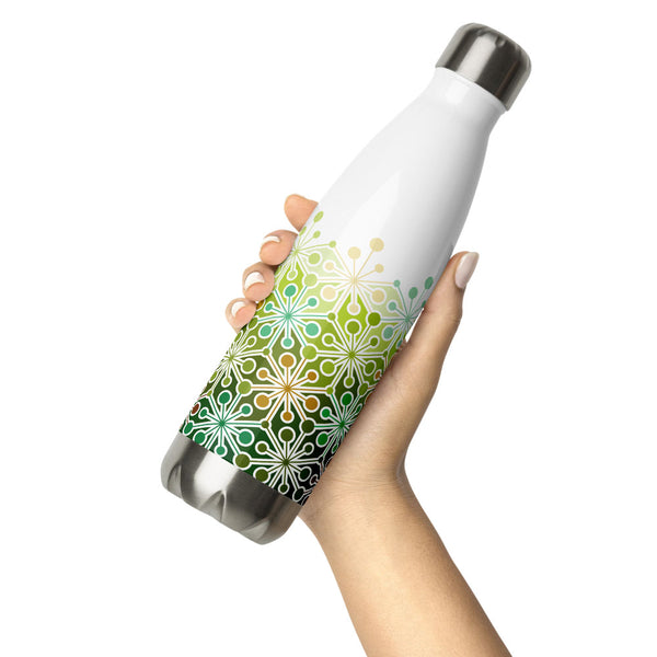 Mid Century Modern Eco Green PsychoFlakes 17 oz Stainless Steel Water Bottle in hand