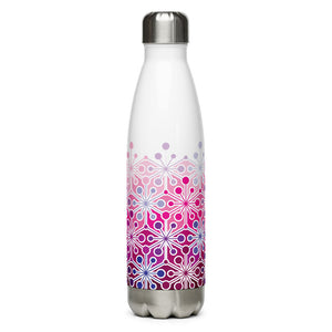 Mid Century Modern Frozen Pink PsychoFlakes 17 oz Stainless Steel Water Bottle front view