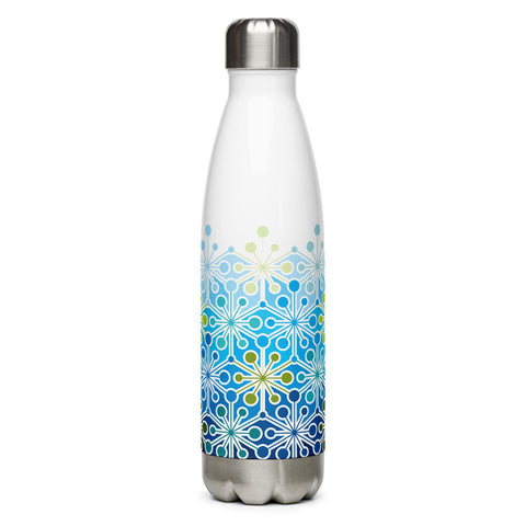 Mid Century Modern Icy Blue PsychoFlakes 17 oz Stainless Steel Water Bottle front view