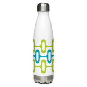 Mid Century Modern Aqua Green ZipperDee 17 oz Stainless Steel Water Bottle front view