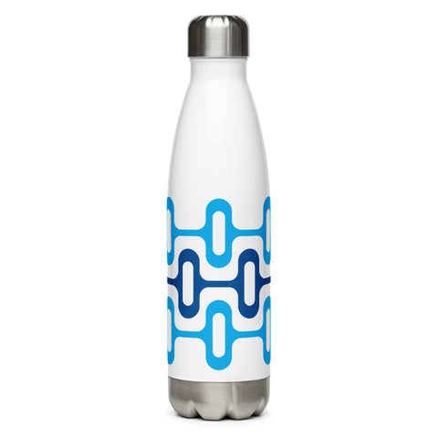 Mid Century Modern Blue ZipperDee 17 oz Stainless Steel Water Bottle front view