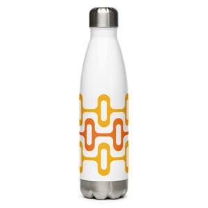 Mid Century Modern Orange ZipperDee 17 oz Stainless Steel Water Bottle front view