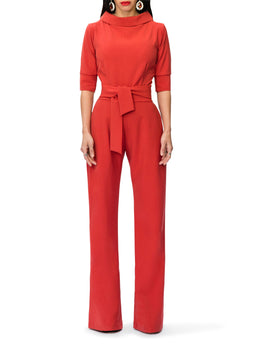 """Audrey"" Rust Folded Collar Jumpsuit"