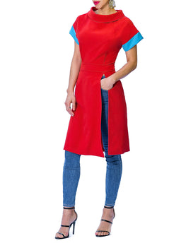 """Clio"" Folded Neck Tunic w/ Contrast Sleeve"