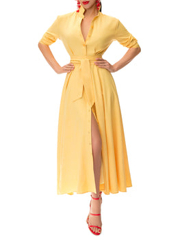 """Summer"" Yellow Button-Down Shirtdress"