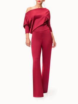 """Cleopatra"" Off Shoulder Burgundy Jumpsuit"
