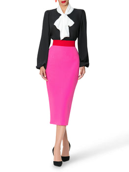 """Brigitte"" Color Block Waist Pencil Skirt"