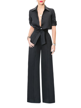 """Emma"" Black Button-Down Jumpsuit"