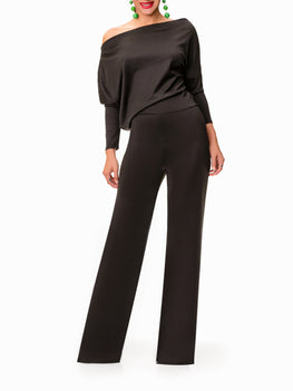 """Foxy"" Off Shoulder Black Jumpsuit"