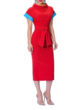 """Thalia"" Folded Neck Dress w/Contrast Sleeves"