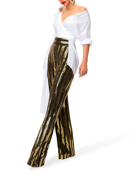 """Eve"" Black and Gold Sequined Pants"