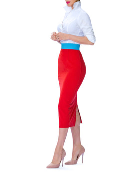 """Dorix"" Color Block Waist Pencil Skirt"