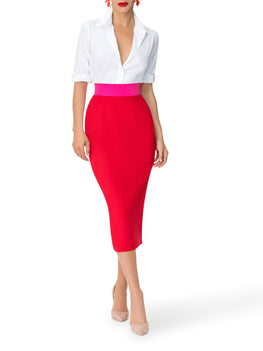 """Catherine"" Color Block Waist Pencil Skirt"