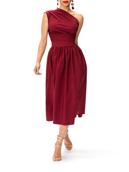 """Marilyn"" One Shoulder Midi Dress"