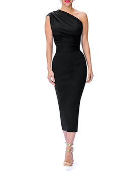 """Iris"" One Shoulder Midi Dress"
