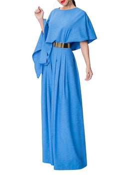 """Chaka"" Blue Pleated High Waist Pants"