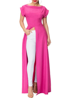 """Iman"" Raspberry Maxi Front-Slit Top"