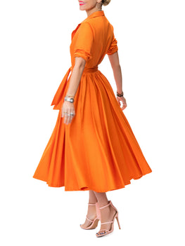 """Emily"" Orange Midi Shirtdress"