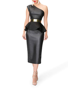 """Judith"" Black Peplum Textured Top"
