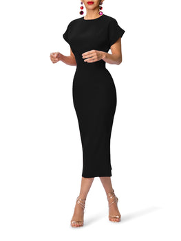 """Olivia"" Midi Dress w/Folded Sleeves"
