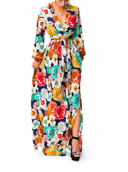 """Adelina"" Floral V-neck Maxi Dress"