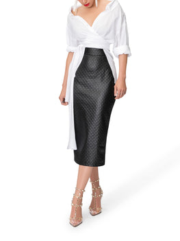 """Holly"" Black Textured Pencil Skirt"