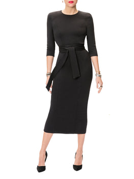 """Claire"" Black Shoulder Pad Dress"
