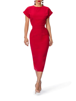 """Ruby"" Midi Dress w/Folded Sleeves"