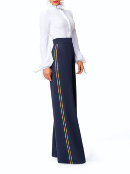 """Tatiana"" Navy High Waist Pants w/ Tuxedo Detail"