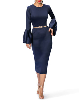 """Eartha"" Midi Dress w/Frill Sleeves"