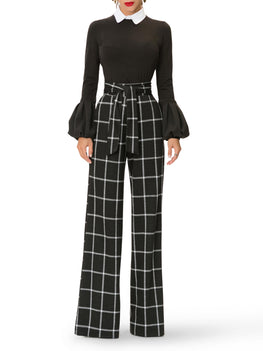 """Rita"" Windowpane Belted Pants"