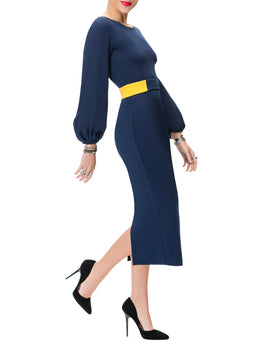 """Donna"" Navy Midi Dress w/ Mustard Contrast"