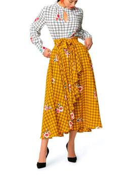 """Esperanza"" White and Yellow Windowpane Floral Dress"