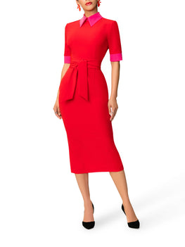 """Roxana"" Red and Pink Color Block Dress"