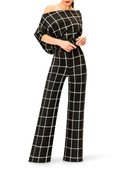 """Pam"" Off Shoulder Window Pane Jumpsuit"