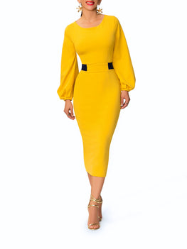 """Estela"" Mustard Midi Dress w/ Navy Contrast"