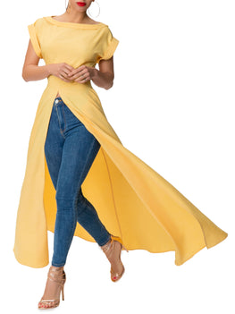 """Cher"" Yellow Maxi Front-Slit Top"