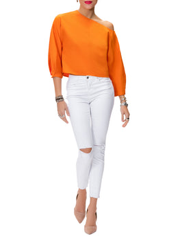 """Alice"" Orange Off Shoulder Top"