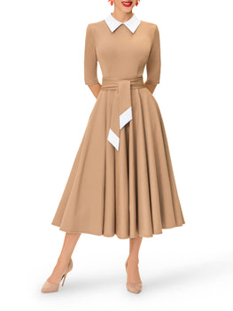 """Sofia"" Taupe 50s Midi Dress"