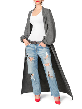 """Tinsley"" Grey Sweater Duster"