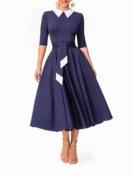 """Joan"" Navy 50s Midi Dress"