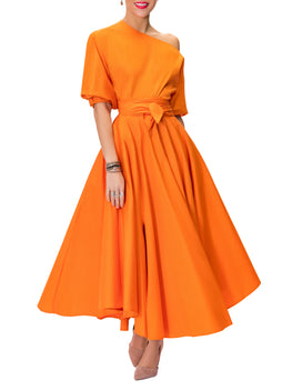 """Frances"" Orange Belted Midi Skirt"
