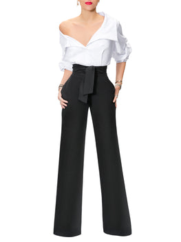 """Victoria"" Black and White Off Shoulder Jumpsuit"