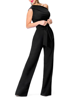 """Nix"" One Shoulder Drape Jumpsuit w/Belt"