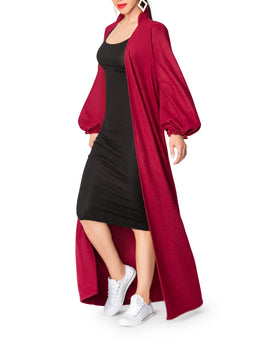 """Winter"" Burgundy Sweater Duster"