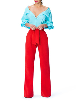 """Electra"" Color Block Off Shoulder Jumpsuit"