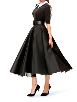 """Cecily"" Black and White Contrast 50s Midi Dress"