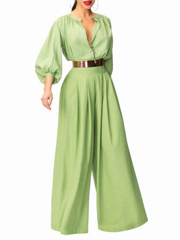 """Jagger"" Green Pleated High Waist Pants"